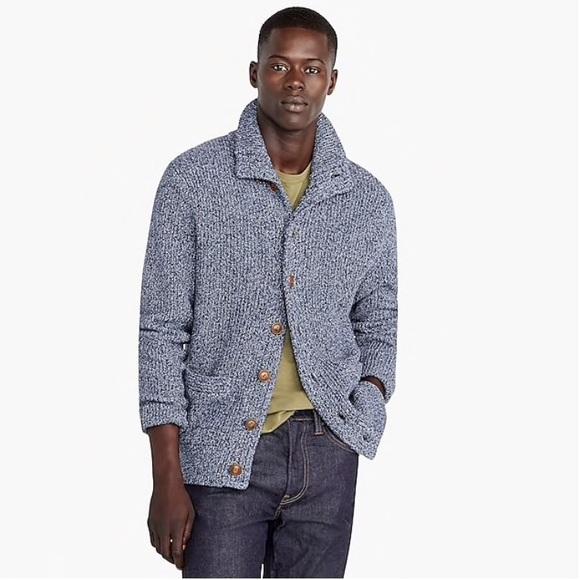 d7633ea45 J Crew Marled Cotton Mock Neck Cardigan Sweater